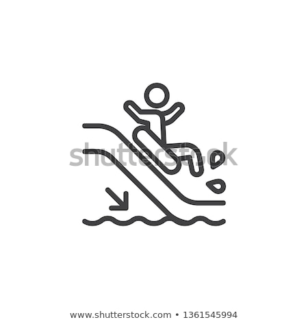 Wasserrutsche Symbol Vektor Gliederung Illustration Zeichen Stock foto © pikepicture