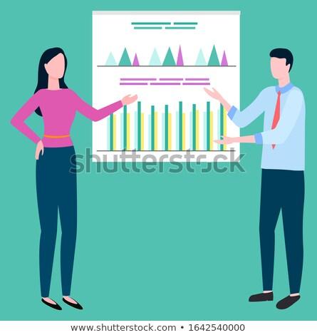 Makelaar presenteren verslag statistisch vector vrouw Stockfoto © robuart