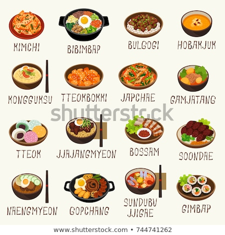 Kimchi Spicy Korean Food, Asian Cuisine Vector Stock photo © robuart