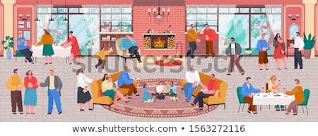 Stock photo: Home Reception, Friends Drinking Wine in Room
