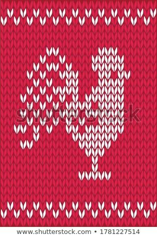 örgü horoz kırmızı renk simge Stok fotoğraf © ShustrikS
