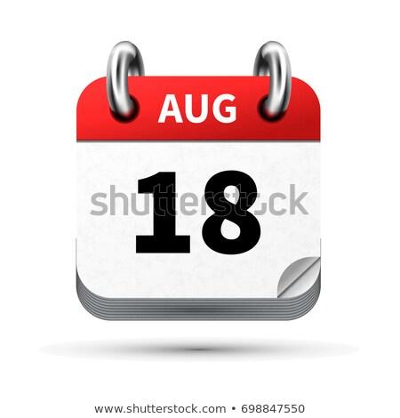 明るい 現実的な アイコン カレンダー 18 8月 ストックフォト © evgeny89