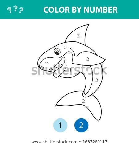 Számok oldal aranyos rajz cápa oktatási Stock fotó © natali_brill