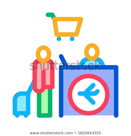 man with suitcase at checkout duty free icon vector outline illustration Stock photo © pikepicture