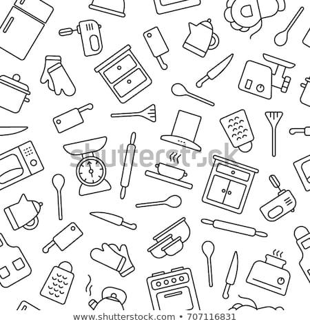 pattern with kitchen appliances and Kitchenware Stock photo © Margolana