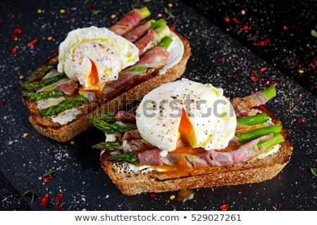 Delicious toast with white asparagus Stock photo © Melnyk