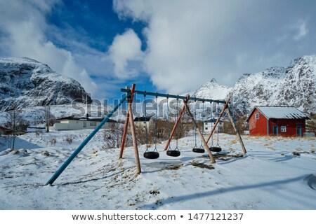Crianças recreio inverno aldeia Noruega Foto stock © dmitry_rukhlenko