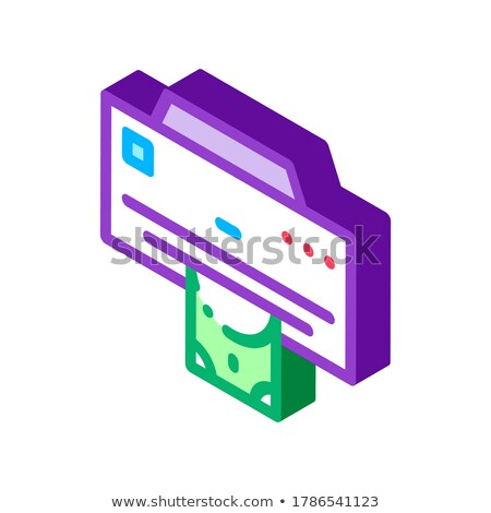 Para yazıcı izometrik ikon vektör imzalamak Stok fotoğraf © pikepicture