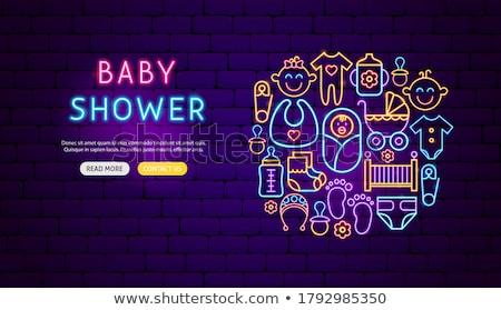 Neon dzieci meble promocji baby Zdjęcia stock © Anna_leni