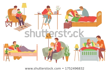 Child Laying in Bed, Father Caring for Sick Kid Stock photo © robuart