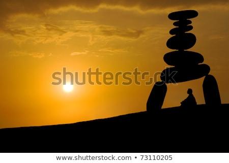 顔 巨大な ストレス 瞑想 日没 禅 ストックフォト © Ansonstock