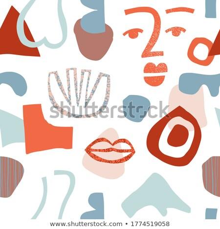 Zdjęcia stock: Torn Seamless Pattern Print Of Lips