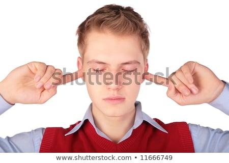 Stock fotó: Boy In Red Jacket Close Ears