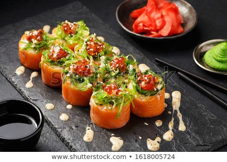 マキ 寿司 クローズアップ 皿 木製 ストックフォト © aladin66