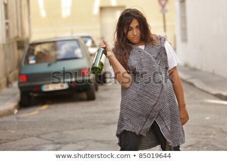 bêbado · mulher · garrafa · vinho · cidade - foto stock © smithore