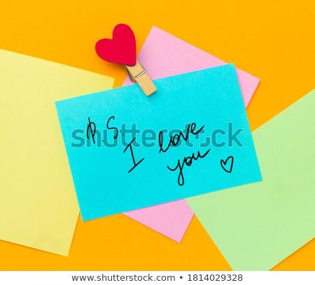 Miłości notatka papieru serca informacji romans Zdjęcia stock © leungchopan