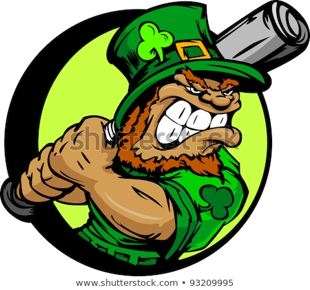 St. Patricks Day Leprechaun Holding Baseball Bat Stock photo © chromaco