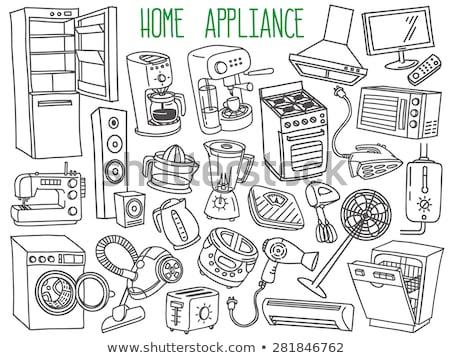 漫画 · ホーム · キッチン · 孤立した · 白 · ベクトル - ストックフォト © RAStudio