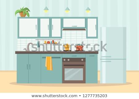 漫画 · ホーム · キッチン · 孤立した · 白 - ストックフォト © RAStudio