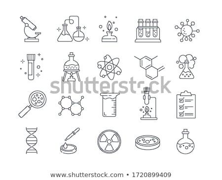 Kémia laboratórium üvegáru tükröződések asztal zöld Stock fotó © pkdinkar