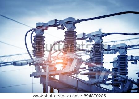 elektromos · transzformátor · kék · ég · fehér · felhők · technológia - stock fotó © 5xinc