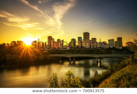 Centre-ville Canada coucher du soleil Skyline ciel cityscape Photo stock © CrackerClips