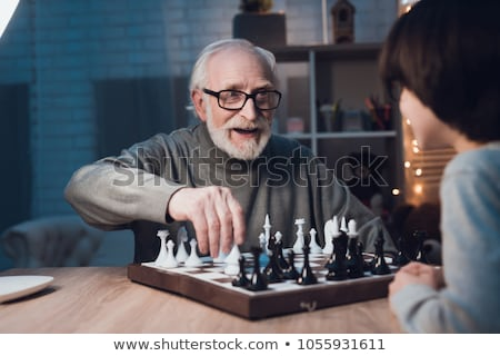 pareja · de · ancianos · jugando · ajedrez · altos · mujer · marido - foto stock © photography33