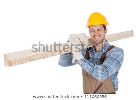 Handyman carrying plank on white background Stock photo © photography33