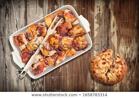 dwa · widelec · spodek · tabeli · żywności · tle - zdjęcia stock © keko64
