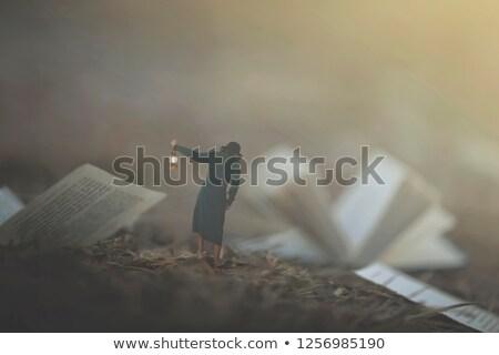 Lantaarn vrouw weg sexy mode natuur Stockfoto © konradbak