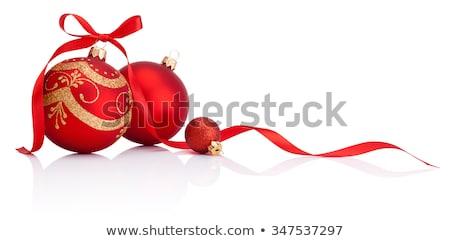 Rouge babiole ruban haut papier d'emballage peu profond Photo stock © danielgilbey