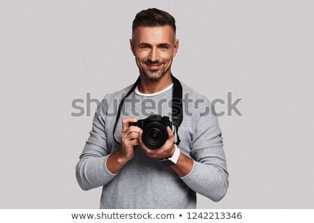 Man digitale camera strand achtergrond zomer Stockfoto © photography33