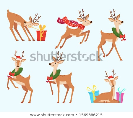 illustration of christmas deer with scarf and decoration stock photo © elmiko