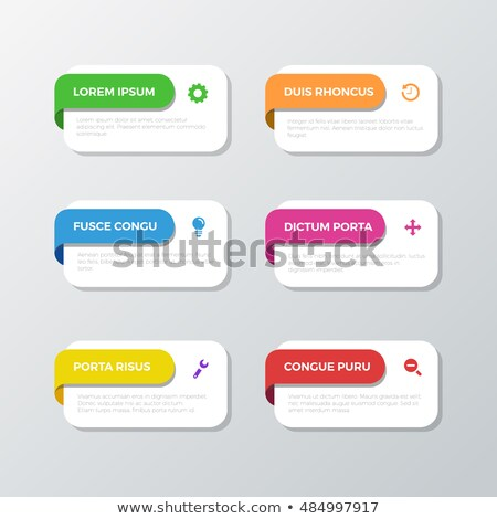 Web Buttons with Green Bookmarks and Six Icons Stock photo © liliwhite