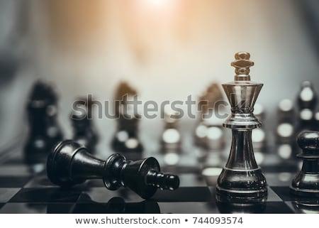 шахматная доска таблице черный солдата белый играть Сток-фото © ankarb