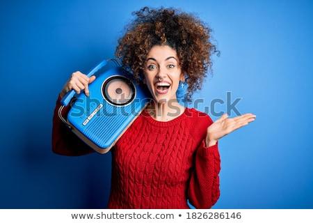 Mutlu radyo insan özellikleri vektör eps Stok fotoğraf © damonshuck