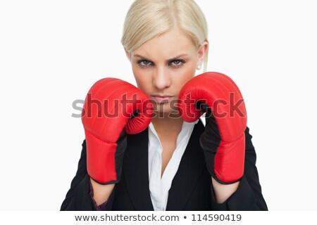 Stockfoto: Jonge · zakenvrouw · boksen · witte · business · hand