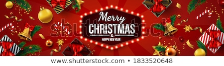 christmas · banery · trzy · papieru · drzewo · śniegu - zdjęcia stock © mart
