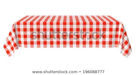 Stockfoto: Checkered Tablecloth Table