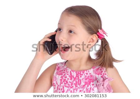 Kislány telefon mobil öröm kapcsolat jó Stock fotó © Pruser