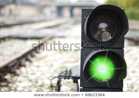 światła stacja kolejowa czarno białe miasta pomoc ruchu Zdjęcia stock © ABBPhoto