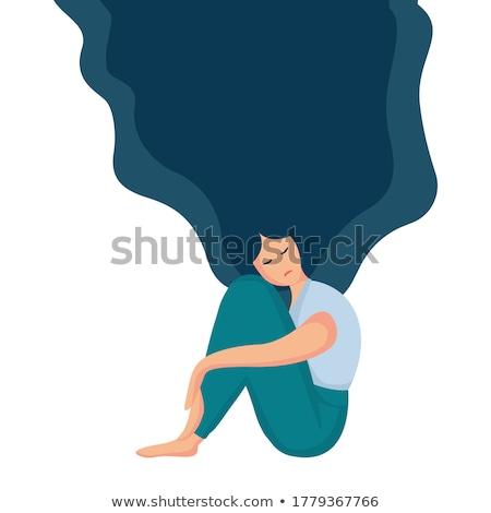 落ち込んで · 代 · 若い女性 · ルックス · 座って - ストックフォト © dacasdo