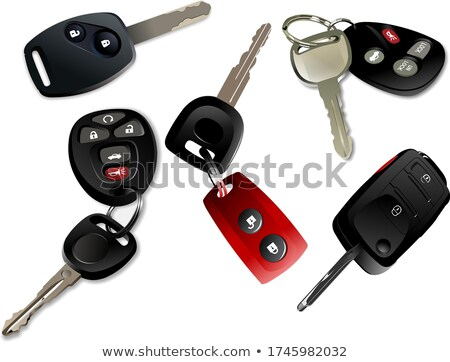 Five Car keys with remote control isolated over white background Stock photo © leonido