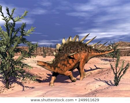Dinozor ağaçlar gökyüzü vücut dünya dişler Stok fotoğraf © mariephoto