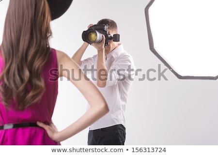 schönen · weiblichen · Fotografen · arbeiten · Computer · digitalen - stock foto © luminastock
