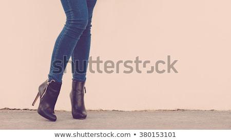 Stockfoto: Lange · benen · leder · pants · schoenen · geïsoleerd