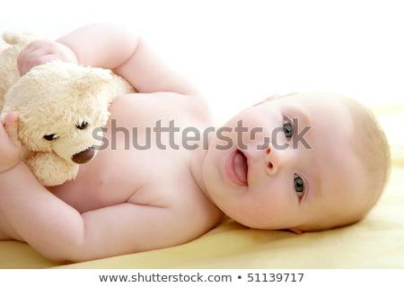 baby · spelen · teddybeer · leggen · bed · Geel - stockfoto © lunamarina