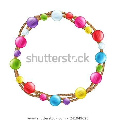 ネックレス ガラス ビーズ 白 ロープ ファッション ストックフォト © gavran333