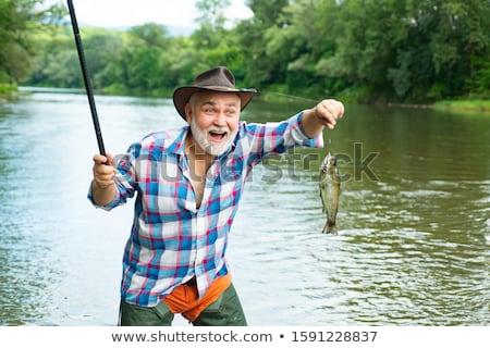 Visser vissen rivier roeiboot overstroming seizoen Stockfoto © xuanhuongho
