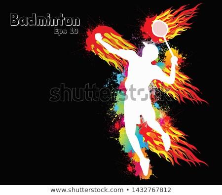 Flaming illustration badminton coq feu sport Photo stock © Krisdog